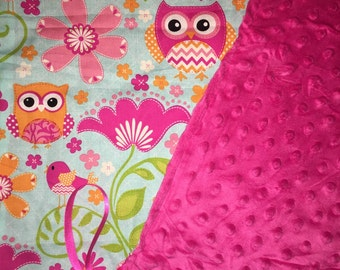 Hot pink minky and owls paci blankie