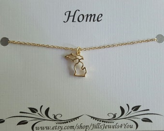 Michigan Charm Necklace - Michigan Home Necklace - Love Michigan - Michigan Jewelry -  Michigan Pendant - Gold Michigan Cutout Necklace