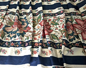 "SALE! Vintage Upholstery Fabric, Botanical Screen Print, Designer Fabric, Stroheim & Romann Inc, Le Chesnay, 55""  Width 6 yds Over 19 Feet"