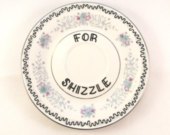 For Shizzle Ring Holder Pretty Floral Ashtray Jewellery Dish Something Blue Gift for Her Adult Humor Decorative Plate Ornamental Trinket