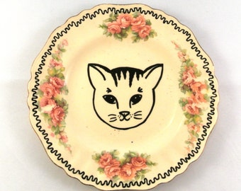 Cat Lover Decorative Plate Kitten Home Decor Alternative Gift for Her Animal Lover Pretty Floral Ring Dish Trinket Box Wall Decoration Pink