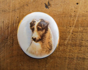 Vintage Porcelain Dog Brooch - Limoges Style Terrier Dog Pin