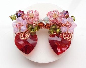 Red earrings - women earrings -stud earrings - Maroon jewellery - maroon earrings - Fall fashion -