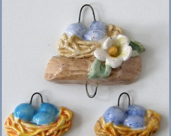 Ceramic Bird nest charm set