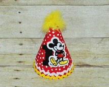 mickey party hat ,mickey mouse hat,mickey cake smash, 1st birthday hat, mickeyr smash cake, you pick number