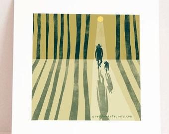 giclee print - full moon -  poëtic art print - lady with  dog - wall decor - moonlight - graphic art print - illustration