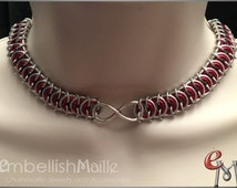 Discrete Submissive Collar: Two-tone Poor King's chainmaille choker with Infinity symbol. Profound symbol of devotion!  Make it your own!