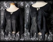 Gothic Black Sheer Crinkle RUINATION Wide Sleeve Blouse 8 10 Vintage Victorian