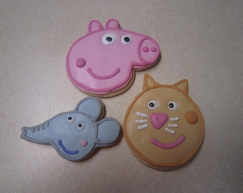 12 Peppa Pig Fan Art Hand Decorated Cookies