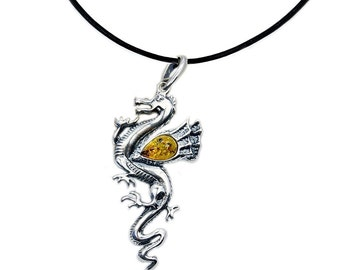 Baltic Amber Necklace Amber from Poland .925 Sterling Silver Dragon Pendant & Leather Cord Necklace Leather Necklace , AD994LN