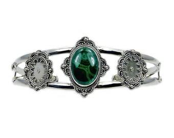 Malachite & .925 Sterling Silver Cuff Bracelet , Ad458