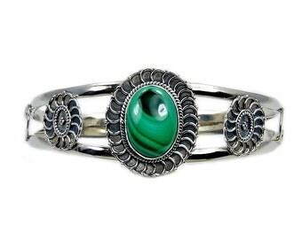 Malachite & .925 Sterling Silver Cuff Bracelet , AD456