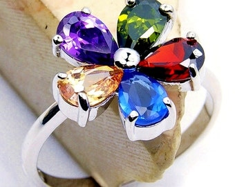 Blossom Cubic Zirconia Flower & .925 Sterling Silver Ring Size  4.75, 5.75, 6.75 , 7.75 O147, O191, Q798, Q769