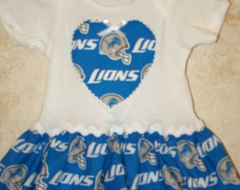 DISCONTINUING ITEM, Football Appliqued One piece Romper,  made with Detroit Lions fabric, Lions Baby Tees, Sports Rompers,