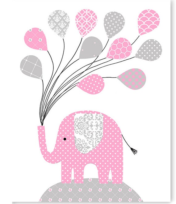 Items Similar To Gray And Pink Elephant Nursery Wall Art
