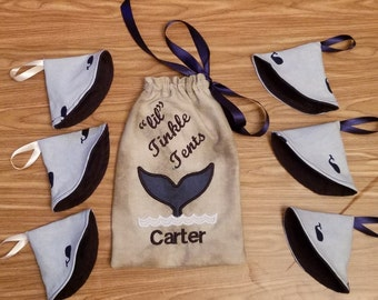 Baby Boy Tinkle Tent, Set of 6, Whale Theme, MADE TO ORDER, Cotton and Flannel, Personalized, Peepee Cover, Baby shower gift,