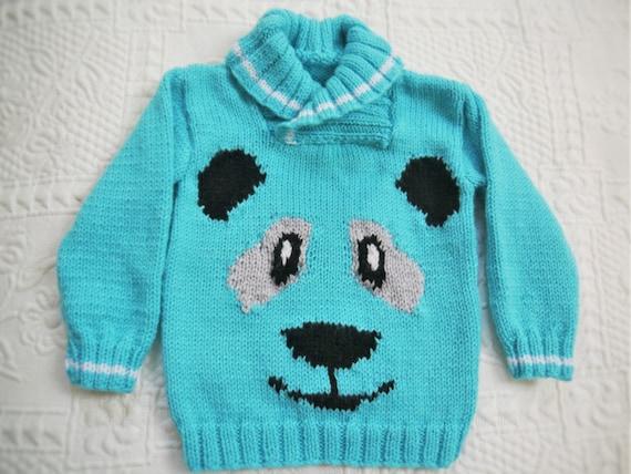 Knitting Pattern Panda Jumper : Panda Sweater Knitting Pattern, Sweater Knitting Pattern for Boy or Girl with...