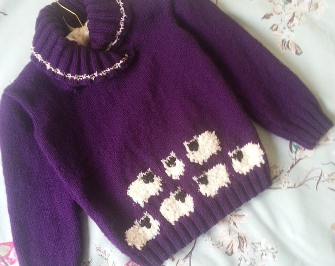 Sheep Sweater Knitting Pattern, Double Knitting Sweater with Sheep for children
