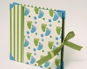 Unisex Baby Photo Album, Memory Album for Kids, Green Blue Medium Scrapbook Album,  Photoalbum for New Baby, Baby Shower Gift, New Born Gift