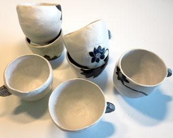 7 cups - Steingzeug & glaze, pigments