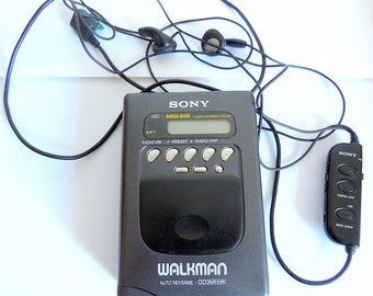 Vintage Sony Walkman WM FX56 Radio Cassette Player With Retro Sony Headphones