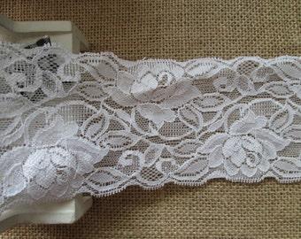 Wholesale lot  15yards  ivory Rose  Elastic stretch Lace Trim 8cm