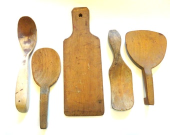 5- Pieces Primitive Wood Butter Paddles/ Wood Spoon/ Wood Utensils- Farmhouse Decor- Farmhouse Antiques- Wood Board- Vintage Wood Kitchen