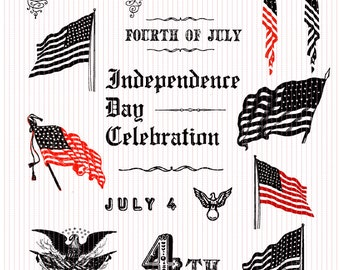 4th of July ClipArt Celebration Clip Art American Independence Day 300 dpi Printable Graphics Instant Download US47