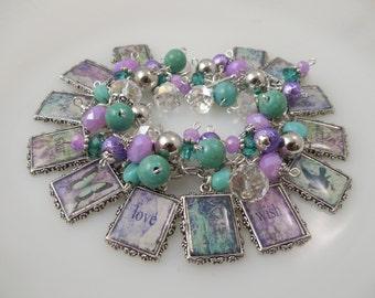 Inspirational  Altered Art Charm Bracelet Chunky Beaded Cha Cha Bracelet Hope Dream Love