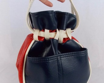 VTG Tex-Made Red, White, Blue Vinyl Drawstring Handbag