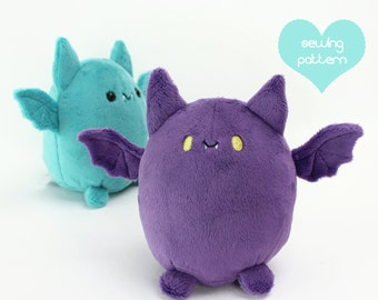 "PDF sewing pattern - Pudgy Bat halloween kawaii plushie - cute easy cuddly stuffed animal anime plush toy 5.5"" handheld"