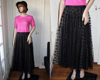 Long tulle skirt black polka dots maxi tutu romantic gothic 80s vintage long black skirt high waist elastic all black goth doll