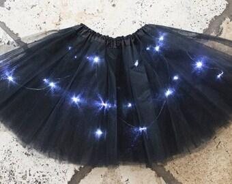 Adult Black LED Light up Tutu Skirt fits Women XS to XL