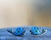 Cute blue whale polka dot earrings, Dainty Jewelry, Stud Earrings, Animal Jewelry, Birthday Gift, Friend Gift, Teenager Gift