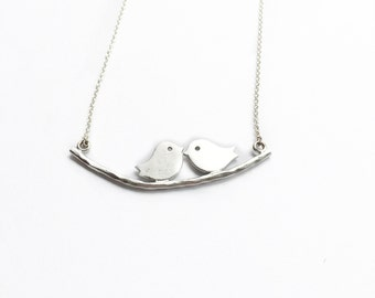 Love Bird Necklace, Silver Love Bird Necklace, Silver Bird Necklace, Love Necklace Silver, Bird Silver Necklace, Bird Necklace Silver
