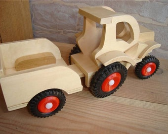 This wooden tractor