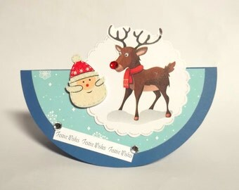 Rudolph Festive Christmas Greeting Card Handmade