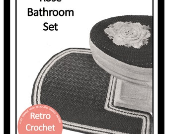 Bathroom Set Vintage Crochet Pattern  - PDF Crochet Pattern -PDF Instant Download