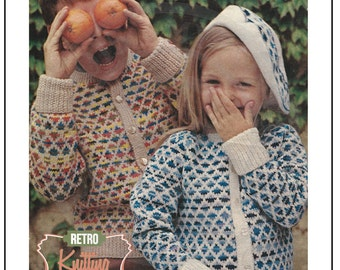 Childrens Fair Isle Cardigan 1970s Vintage Knitting Pattern - PDF Knitting Pattern - Instant Download