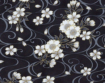 FLOATING CHERRY BLOSSOMS: Black Asian Japanese Fabric from Kona Bay - By the Half Yard