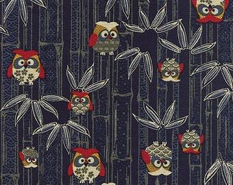 JAPANESE INDIGO FABRIC: Lucky Owl Design (1/2 Yd Increments)