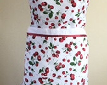 Cheery Cherry ReversibleApron - Large Pocket on both sides, Adjustable Red Ties,
