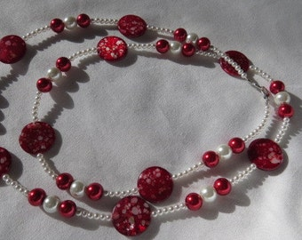Red and White Beaded Necklace, Opera Length Necklace, Glass Bead Necklace, Woman's Jewelry