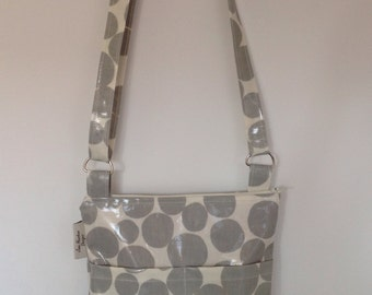 Messenger Bag/ cross body bag in Grey and white spotty Oilcloth