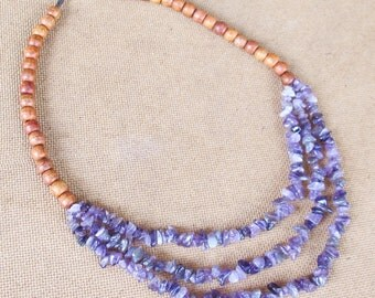 Layer Necklace - Amethyst Chip Stone Multi Strand Layered Necklace