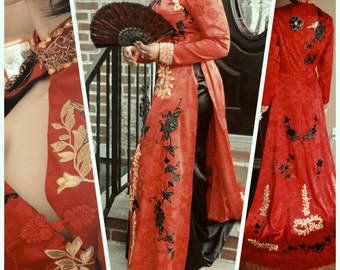 Ao Dai inspired dress, red cheongsam