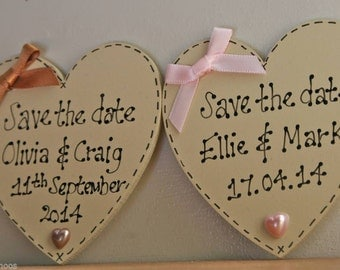 Wedding Invite 'Save the date' magnets, Handwritten wooden hearts, shabby chic individually packaged, discounts available, all colours
