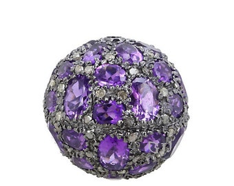 Amethyst Pave Diamond Spacer Ball Beads Findings 92.5 Sterling Silver Natural Amethyst Pave Bead Spacer Finding for Jewelry making
