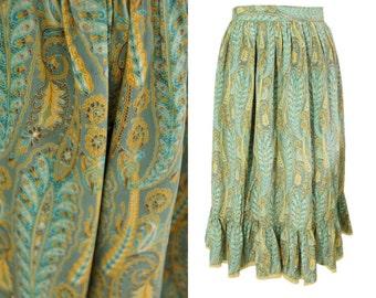 Silk vintage skirt. Paisley print. Blue and mustard print. High waisted. Lace ruffled hem.