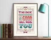 Think Good Thoughts- Cross Stitch Pattern (Digital Format - PDF)